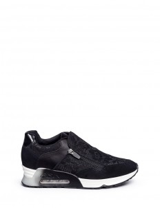 'Look Lace' satin and suede zip sneakers
