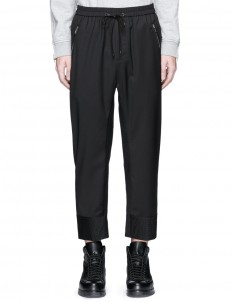 Quilted cropped wool jogging pants