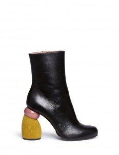 Suede sculptural heel leather boots