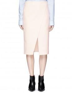 'Pau' diagonal slit crepe skirt