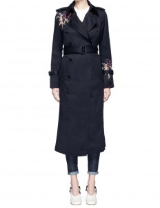 Orchid embroidered gabardine trench coat