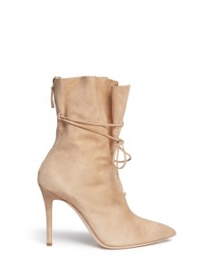 'Camille' wraparound ankle tie suede boots