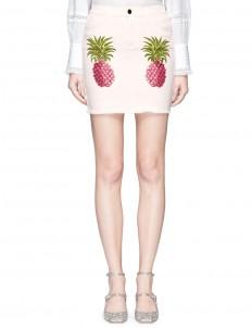 Pineapple print frayed denim mini skirt