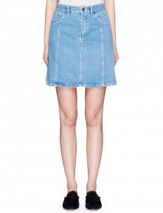 Scalloped seam cotton denim skirt