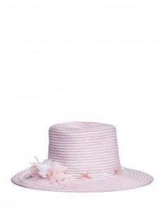 'Meredith' feather trim stripe straw hat