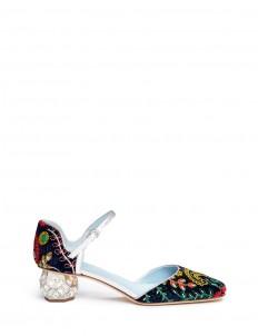 'Ella' jewelled heel embroidered velvet Mary Jane pumps