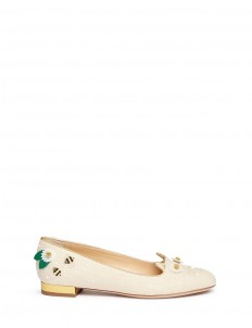 'Floral Kitty' honeybee embroidered linen flats