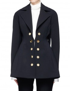 'Marilyn' double-breasted flared twill coat