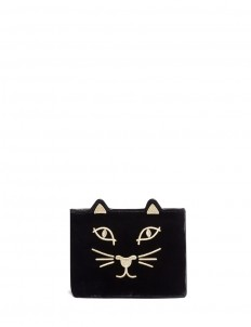 'Kitty' embroidered velvet pouch
