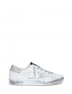 'Superstar' star patch smudged leather sneakers