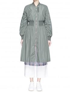 Elastic waist bomber coat
