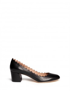 Curve heel scalloped edge leather pumps