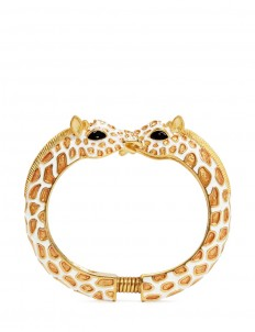Enamel double giraffe gold plated cuff