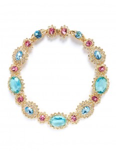 Crystal pavé glass stone floral necklace