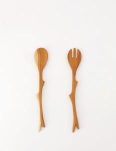 Natural Brown Salad Spoon Fork