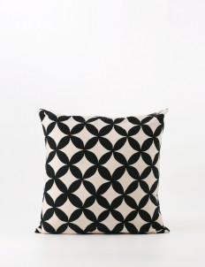 Black and White Kawung Batik Tulis Cushion Cover