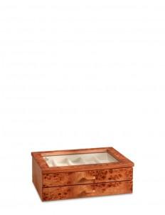 Elm briar wood two-drawer watch box