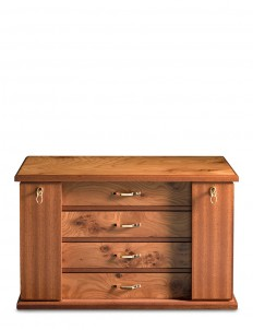 Elm briar wood four-drawer jewellery chest
