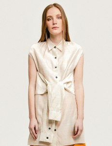 Beige Romanoff Wrap Shirt