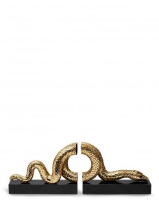 Gold Snake Bookend Set