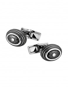 Cufflinks and Tie Clips Cuff Links, round, steel, black carbon inlay