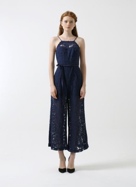 CDC The Label Navy Le Soir Lace Jumpsuit