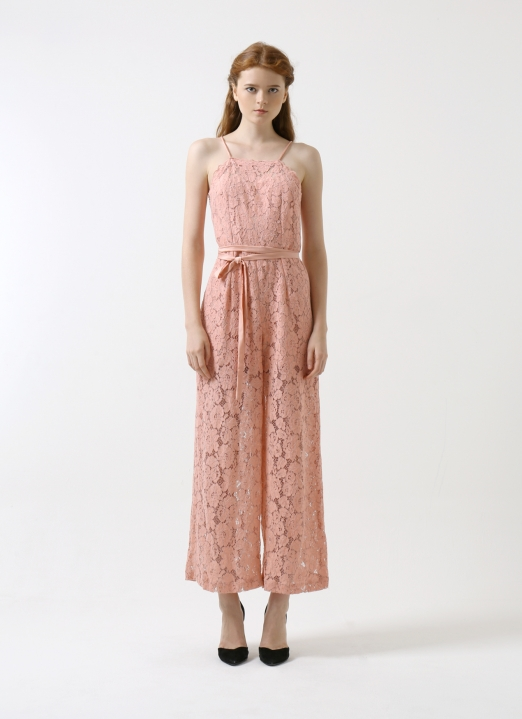 CDC The Label Blush  Le Soir Lace Jumpsuit