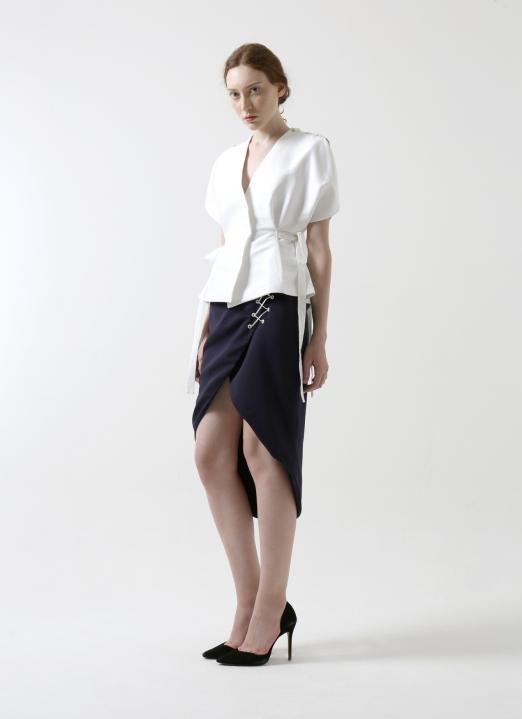Reves Studio Navy Wrap Lace-Up Midi Skirt