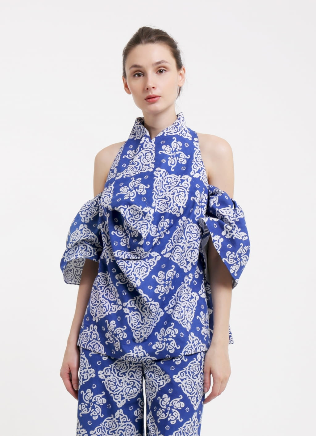 Oemah Etnik Navy Blue Premium Diamond Batik Top