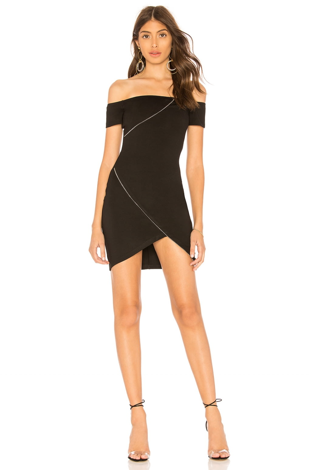 Denise Off Shoulder Zipper Dress in Black. - size L (also in M,S,XS,XXS) by the way.