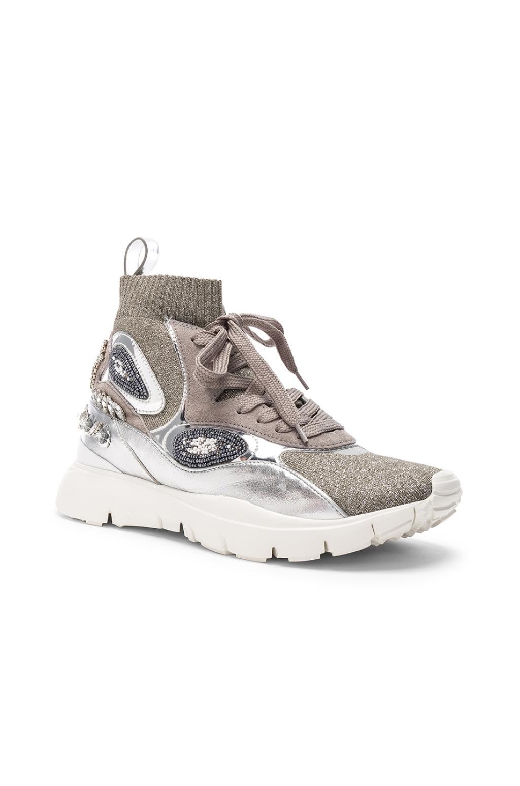Valentino Heroes Her Embellished High Top Sneakers in Metallics. LiXbcL
