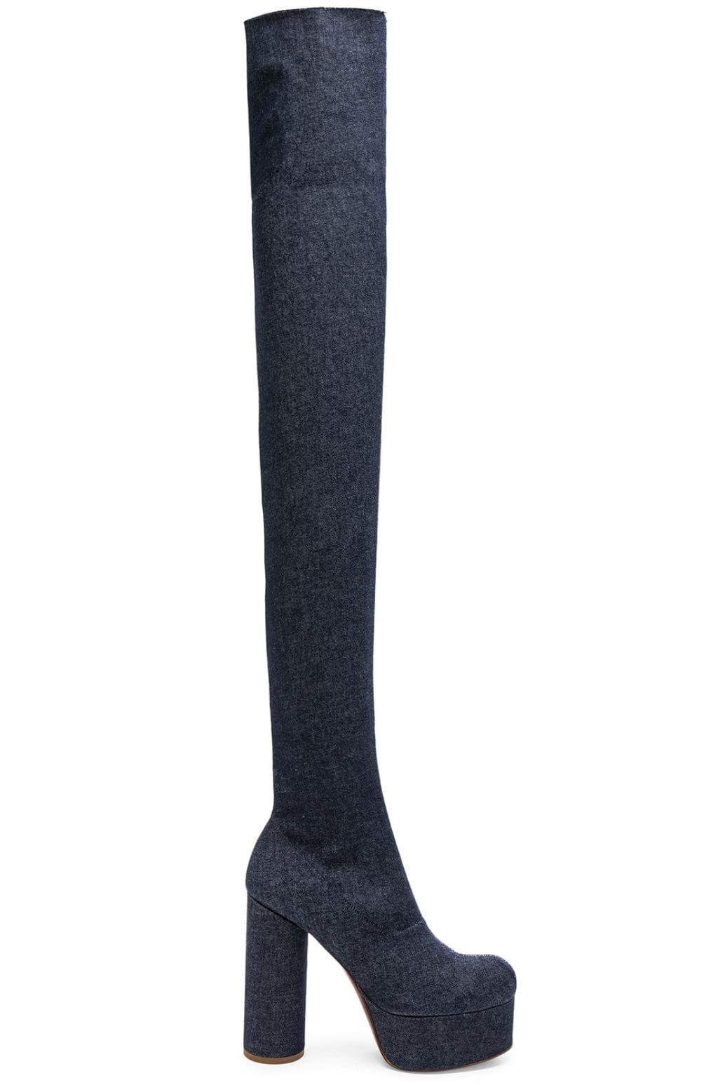 VetementsDenim Thigh High Platform Boots in . iRuwkd3