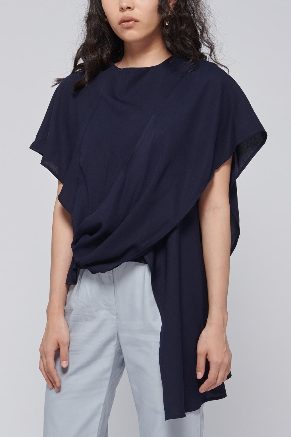 Shopatvelvet Navy Calla Shawl Top