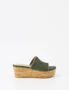 Winston Smith Green Zaneta Suede Wedge Sandals