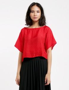 Larissa Duliar Red Alli Short Sleeved Blouse