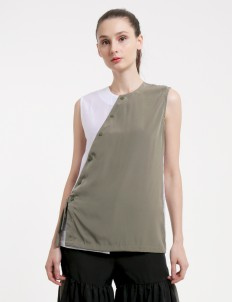 KOMMA Olive & White Sleeveless Blouse