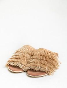 Eesome Khaki Alph Fringe Sandals