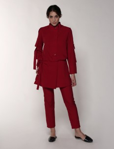 Leuca Red Noura Apron Skirt
