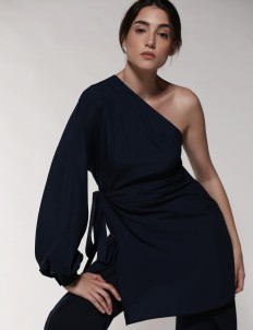 Leuca Navy Ayla One Shoulder Wrap Top