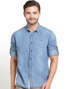 The Cufflinks Store Light Blue Denim Casual Long Sleeves Shirt