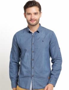 The Cufflinks Store Dark Blue Denim Casual Long Sleeves Shirt
