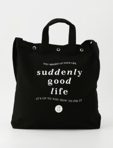 suddenly good life Black & White Kazu Tote Bag