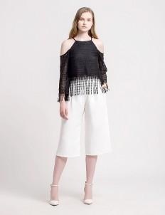 CLOTH INC Black Gypsy Fringe Top