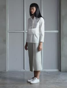 Wastu Gray Ribbed Faux Wrap Skirt