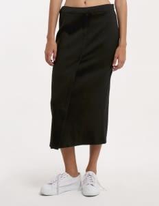 Wastu Black Ribbed Faux Wrap Skirt