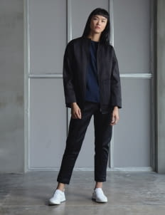Wastu Black Collarless Military Jacket