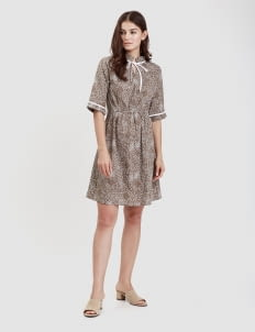 Warangka Batik Olive Delray Frill Dress