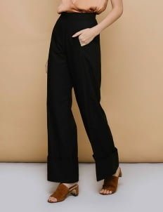 CLOTH INC Black High Hem Pants