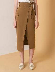 Reves Studio Golden Brown Paperbag Waist Pencil Skirt