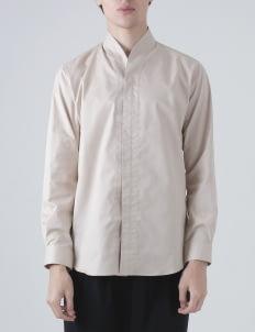jan sober Cream Collarless PT II Shirt